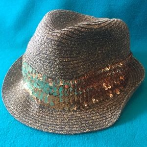 D&Y Paper Straw Fedora with Gold Sequin Band OS